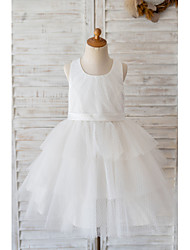 cheap -Ball Gown Knee Length Wedding / Birthday Flower Girl Dresses - Tulle Sleeveless Jewel Neck with Belt / Appliques