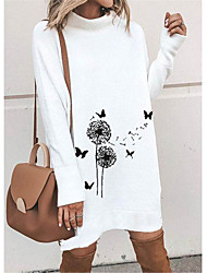 cheap -Women's Shift Dress Knee Length Dress - Long Sleeve Animal Print Spring Fall Casual 2020 White Black Blushing Pink Gray M L XL XXL 3XL