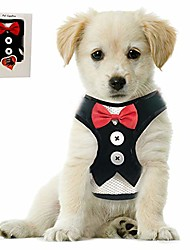 cheap -small puppy harness with bowtie, adjustable dog mesh tuxedo harness leash set for small dog kitten, perfect for party wedding holiday