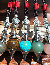 cheap -Women's Men's Pendant Necklace Necklace Handmade Friends Precious Joy Lucky Blessed Ethnic Vintage Punk Trendy Cord Agate Stone Blue Blushing Pink Green Brown Light Blue 70 cm Necklace Jewelry 1pc For
