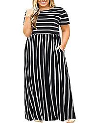 cheap -plus size maxi dresses for women summer casual long high waist stripe 5x