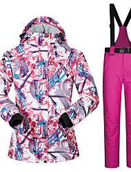cheap -MUTUSNOW Women's Ski Jacket with Pants Skiing Hiking Snowboarding Waterproof Windproof Warm Polyester Clothing Suit Ski Wear / Winter