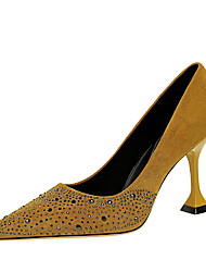 cheap -Women's Heels Pumps Pointed Toe Vintage Sexy Minimalism Party & Evening Suede Rhinestone Solid Colored Almond Black Yellow / 3-4