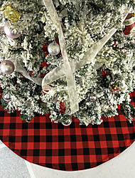 cheap -Black and Red Gingham Tree Skirt Christmas Ornaments Holiday Scene With Christmas Tree Bottom Decoration