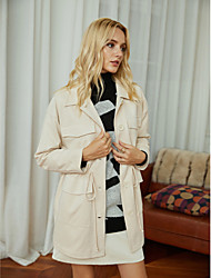 cheap -Women's Solid Colored Drawstring Active Fall & Winter Jacket Regular Going out Elastic Velvet Coat Tops Beige