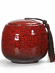 cheap -ceramic canister, traditional style porcelain gifts, tea storage containers/tea caddy/tea canister/portable sealed tea tins, handicraft gift, 115x97mm (red)