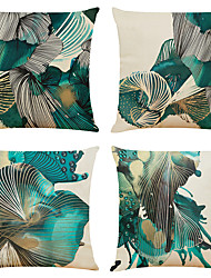 cheap -Set of 4 Abstract Art Linen Square Decorative Throw Pillow Cases Sofa Cushion Covers  Home Sofa Decorative
