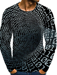 cheap -Men's 3D Graphic Plus Size T-shirt Print Long Sleeve Daily Tops Elegant Exaggerated Round Neck Gray