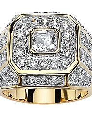 cheap -men's 14k yellow gold plated square cut cubic zirconia octagon ring size 9
