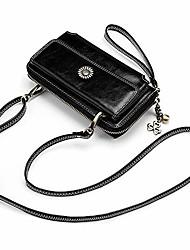 cheap -women wristlet genuine leather crossbody clutch cellphone shoulder bag smartphone wallet vintage purse travel (org red)