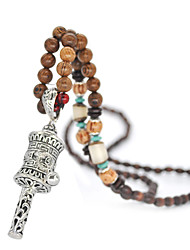 cheap -Women's Pendant Necklace Beaded Necklace Retro Friends Precious Gemini Lucky Hope Simple Vintage Ethnic Fashion Wooden Resin Alloy Silver 80 cm Necklace Jewelry 1pc For Street Sport Gift Masquerade