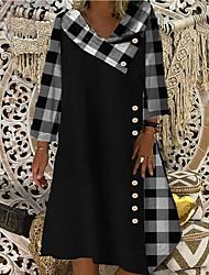 cheap -Women's Shift Dress Knee Length Dress 3/4 Length Sleeve Check Patchwork Print Spring Summer Casual 2021 Black Blue S M L XL XXL 3XL