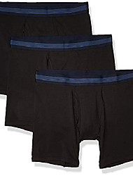 cheap -amazon brand - men's 3-pack cotton modal stretch knit boxer brief, black, medium