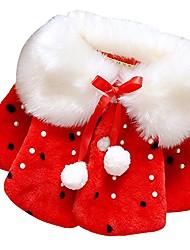 cheap -baby girl kids faux fur outwear winter warm cloak jacket coat #2 red 6-12 months