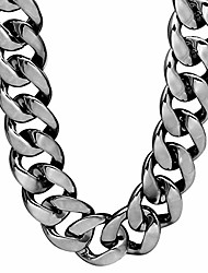 cheap -faux gold acrylic chain necklace, 90s punk style necklace costume jewelry, hip hop turnover chain necklace, plastic 32 inches, 36 inches 35mm (black-gun 32inch)