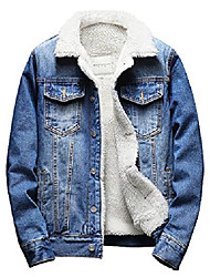 cheap -men's sherpa lined denim jacket button down classic trucker jackets warm casual quilted jeans coats outerwear