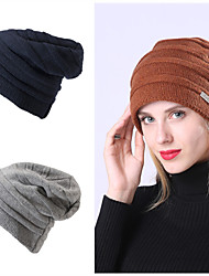 cheap -Women's Men's Hiking Cap Ski Hat Hooded Neck Warmer 1 PCS Winter Outdoor Thermal Warm Waterproof Windproof Fleece Lining Skull Cap Beanie Solid Color Acrylic Flannel Black Red Grey for Hunting