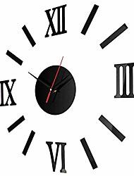 cheap -diy roman digital acrylic wall clock mirror wall stick clock (black)