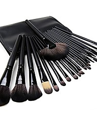 cheap -24 pcs makeup brush set premium wooden handle cosmetic brushes for foundation blending blush concealer eye shadow (black)