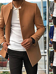 cheap -Men's Single Breasted Stand Collar Coat Short Solid Colored Daily Streetwear Long Sleeve Black Blue Khaki Green M L XL XXL