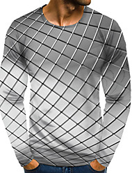 cheap -Men's 3D Graphic Plus Size T-shirt Print Long Sleeve Daily Tops Elegant Exaggerated Round Neck White