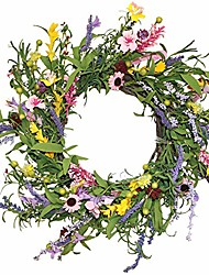 cheap -floral wreath, spring and summer door wreath 22 inches, artificial flower wreath for front door with springtime faux flower and grapevine wreath base for farmhouse office home wedding decor