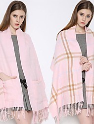 cheap -limited stock - 50% off plaid shawl wrap with pockets - pink