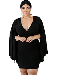 cheap -Women's A Line Dress Knee Length Dress Black Red Long Sleeve Solid Color Ruched Patchwork Fall V Neck Sexy 2021 XXL 3XL 4XL 5XL 6XL / Plus Size