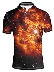 cheap -modern men's golf sport short sleeve 3 button collars t-shirts brown galaxy shirt