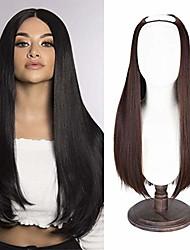 "cheap -28"" u part half wig,  long straight u-shape hair wig 7 clips for women dark chocolate brown"