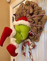 cheap -christmas thief wreath for front door, xmas holiday, indoor, outdoor home decor - he want to steal your christmas tree!
