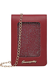 cheap -Women's Bags PU Leather Mobile Phone Bag Zipper Chain Plain 2020 Daily Wine White Black Blushing Pink