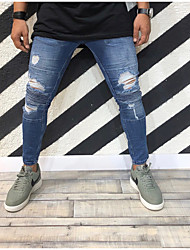 cheap -men's ripped distressed full length skinny jeans denim pants with holes (light blue, us 37)