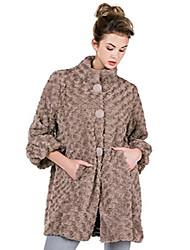 cheap -women rosette faux fur china collar half coat jacket 3/4 puff sleeve (mocha, small/medium)