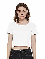 cheap -women's summer basic short sleeve tee crop t-shirt tops (white, 2x)
