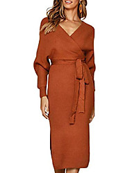 cheap -womens bodycon dresses sexy backless cocktail v neck belted long batwing sleeves bodycon party dress (l, coffee)