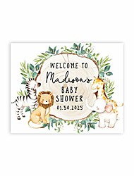 cheap -custom large baby shower canvas welcome sign, 16 x 20 inches, rustic greenery safari animals, guestbook alternative, personalized sign our canvas, for jungle safari baby shower, sprinkle