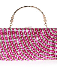 cheap -Women's Bags Polyester Evening Bag Pearls Crystals Pearl Crystal / Rhinestone Party Wedding 2021 Handbags Black Red Fuchsia Gold