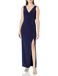 cheap -women's long illusion lace cowl back gown, navy, 14
