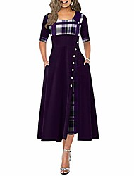 cheap -womens summer casual half sleeve round neck long dress plaid button detail maxi dress with pockets (purple,xxxx-large)