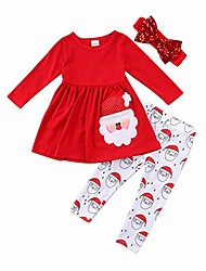 cheap -Toddler Baby Girl Clothes Christmas Outfits Santa Long Sleeve Tops and Pant Infant Clothing Set