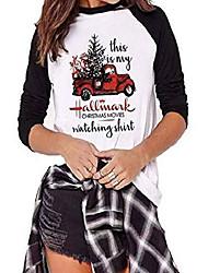 cheap -women's top this is my christmas hallmark movie watching christmas tree car pattern 3/4 sleeve baseball sport t-shirt black