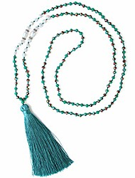 cheap -long tassel necklace handmade pendant pearl crystal beads necklace for women fashion jewelry birthday gifts (01-bring green)