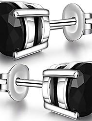 cheap -men stud earrings black stud earrings for women diamond stud earrings cubic zirconia studs earrings sterling silver women stud earrings white gold plated hypoallergenic black earrings 6mm