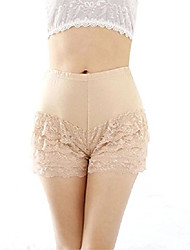 cheap -womens sweet sexy layered lace stretch safety underpants underwear shorts beige