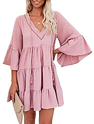 cheap -women summer long sleeve tunic dress v neck casual loose flowy swing shift dresses pink small