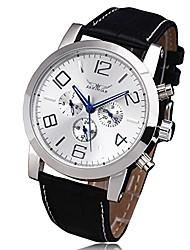 cheap -brand mechanical watch men steel case calendar hour week dial leather strap male dress automatic wristwatch