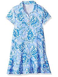 cheap -girls' little upf 50+ mini sadie polo dress, blue peri turtley awesome, xs