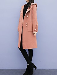 cheap -Women's Solid Colored Oversized Basic Fall & Winter Coat Long Daily Long Sleeve Wool Blend Coat Tops Black