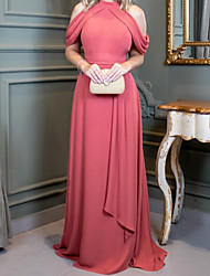 cheap -Sheath / Column Minimalist Elegant Wedding Guest Formal Evening Dress Halter Neck Sleeveless Sweep / Brush Train Chiffon with Pleats 2021